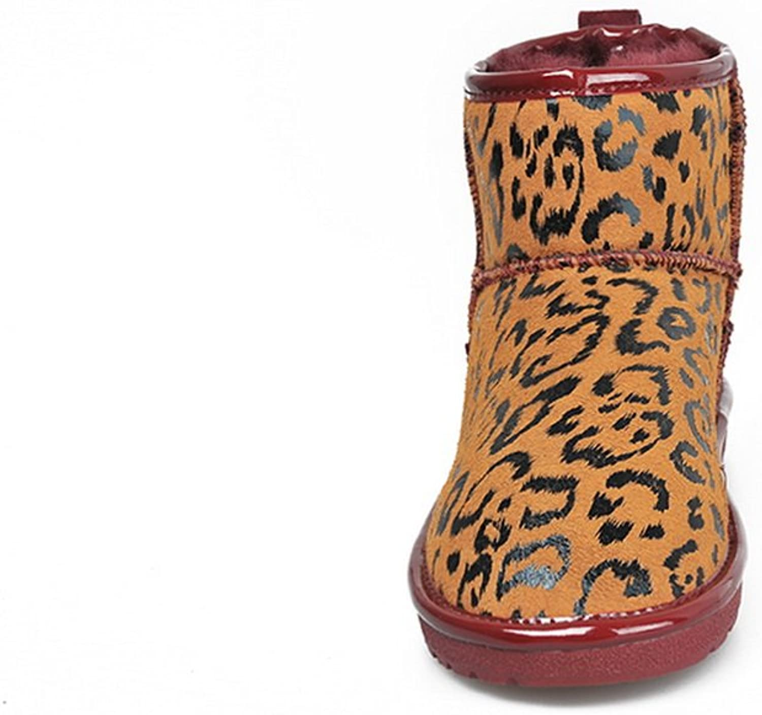 QueenFashion Women's colorant Match Ankle Snow Boots with Leopard Pattern,Red,39