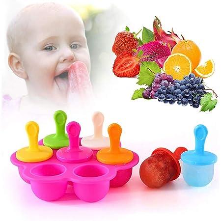 Molde Paleta Helada,Mini Popsicle Molde de Paletas Set de 7 Congeladores de Hielo,Moldes para Paletas de Bricolaje,Silicón Libre de BPA(Rojo)