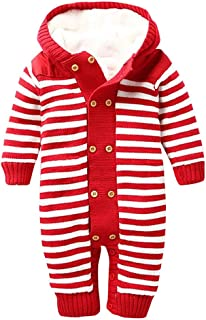 WOCACHI Baby Thickened Knitted Jumpsuit, Newborn Infant Boys Girls Double Breasted Button Plush Hooded Romper Playsuit