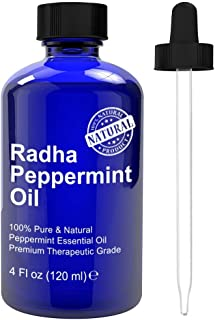 Radha Beauty Peppermint Essential Oil 4 oz - 100% Pure & Therapeutic Grade, Steam Distilled for Aromatherapy, Fresh Minty ...