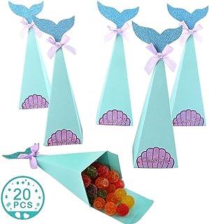 Scatole per Feste Sirena Confezione 36 Sacchetti per Caramelle con Regalo Forma di Sirena con Adesivi per Tatuaggio per Festa a Sirena Baby Shower Forniture Decorative Code da Sposa Archi