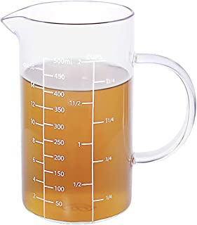 Best Glass Measuring Cup, [Insulated handle, V-Shaped Spout], 77L High Borosilicate Glass Measuring Cup for Kitchen or Restaurant, Easy To Read, 500 ML (0.5 Liter, 2 Cup) Review