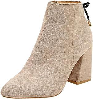 595ce4cfd9917 Bottes en Suédine Daim Pointure Large à Talon Carré,Overdose Sexy  Chaussures Bottine Casual Ankle