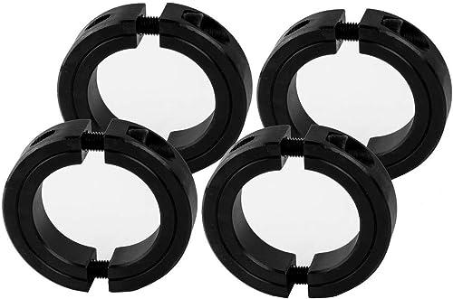 "Jeremywell 1-1/4"" Bore Double Split Shaft Collar Black Oxide Set Screw Style (4 PCS)"