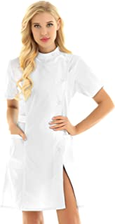 Women's Mandarin Collar Button Front Solid Hospital Nurse Scrub Dress Nursing Outfits