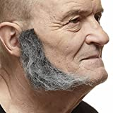 Mustaches Self Adhesive, Novelty, Realistic, L Shaped Fake Mutton Chops Sideburns, False Facial Hair, Costume Accessory for Adults, Salt and Pepper Color