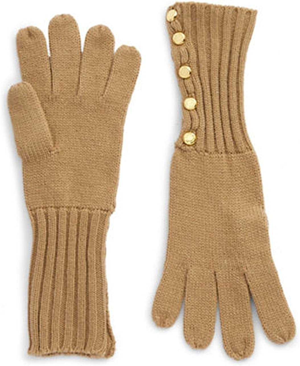 Michael Kors Women' Knit Gloves With Buttons, Camel, One Size