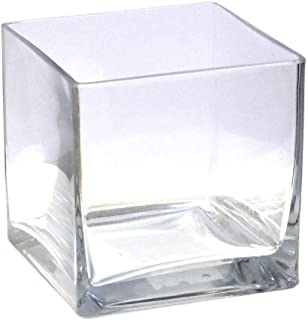 Vasefill 6-Pack Clear Square Glass Vase - Cube 5 Inch 5
