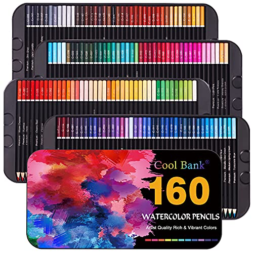 160 Watercolor Pencils, Watercolor Pencil Set for Coloring Books, Artist Soft Series Lead with Vibrant Colors for Sketching, Shading & Coloring in Tin Box