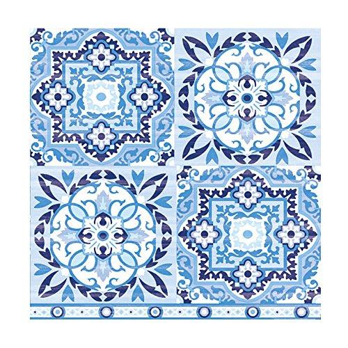 Ambiente Papier bedruckt, 3-lagig, Tissue Servietten–Blue Fliesen, 20Stück 33x 33cm
