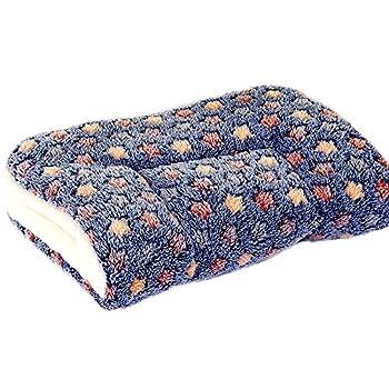 Hoylson Couvertures pour Chien Chat Moelleux Coussins Chiot Tapis Lavable Petit Moyen Grand (S, Bleu foncé)