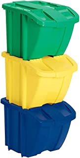 Suncast Recycle Bin Kit - Stackable Organizer Stores Recyclables, Tools and Toys - Storage Bin with Front Flap Ideal for Dry Storage - Multi-Colored