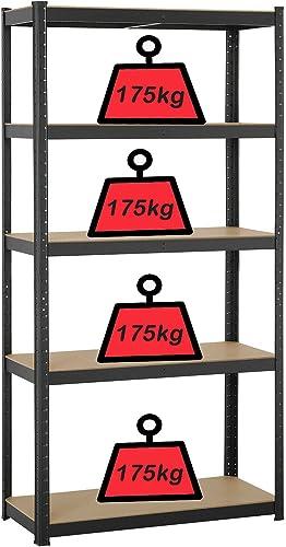 "wholesale 59 Inch Storage Shelving Unit 5-Shelf Adjustable Height Garage Shelving Units outlet sale Kitchen Shelf Organizer Rack, Metal Steel Frame MDF Boards 386lbs Max online sale Load Per Tier, 27.5"" x 12"" x 59"", Black online sale"