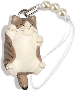 ペットラバーズ 猫どん でぶ猫 キジトラ白 ビーズ ストラップ N-2303