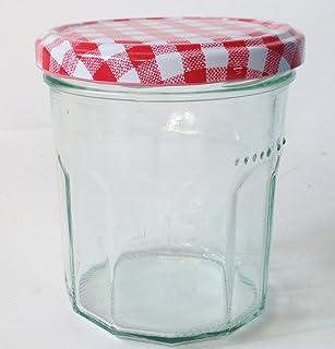 Nutley's 24 Wide Mouth Jam Jars & Red Gingham Lids, 324ml (10oz)
