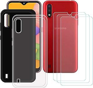 TTJ Svart + transparent fodral för Samsung Galaxy M01S + [3 stycken] HD pansarglas, mobiltelefonfodral silikon skyddande f...