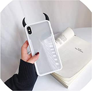 Luxury Cute 3D Devil Horn Transparent Acrylic Soft Phone Case for iPhone 6 6S 7 8 Plus X XS MAX XR Ultra-Thin Cover Case,c,for iPhone 7