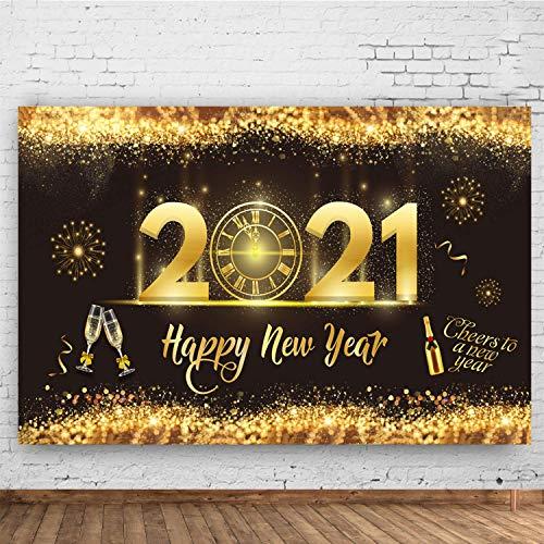 2021 Feliz Año Nuevo Decoración Fiesta- Negro Oro Brillo Año Nuevo Telón de Fondo Reloj Dial Cuenta Regresiva Fondo para Interior Decoración de Letrero de Jardín