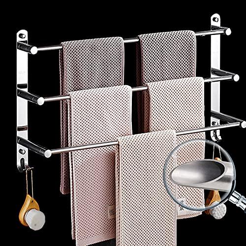 Riel de Toalla de Acero Inoxidable de 3 Niveles con Ganchos, Toalla de Escalera montada en la Pared Toalla de Barra de Barra de Toalla para Cocina baño baño Oficina,80cm
