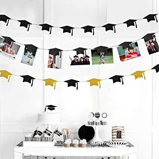 36pc Graduation Cap Garland and Magnet Photo Clip String Kit for Congrats Grad Party Decorations Centerpiece Gold Black Hanging Hat Cutouts Photo Display for Graduation Party Supplies 2019