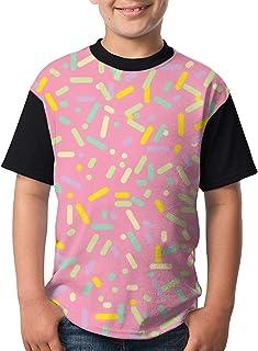 T シャツ 半袖 ボーイズ ドーナツ 丸首 キッズ 吸汗 半袖 オシャレ 人気 かわいい 普段着 学校用 旅行用 夏秋 カジュアル