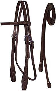 Tahoe Tack Barbwire Leather Western Hand Tooled Browband Headstall with Matching Split Reins