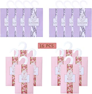 lifetop 16Packs Lavender & Rose Closet Air Freshener Deodorizer Scented Sachets Bags for Drawer Closets, Wardrobes and Bed...