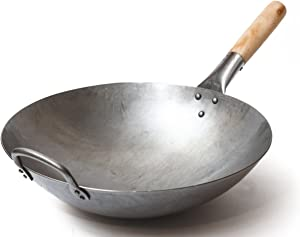 Craft Wok Traditional Hand Hammered Carbon Steel Pow Wok with Wooden and Steel Helper Handle (14 Inch, Round Bottom) / 731W88