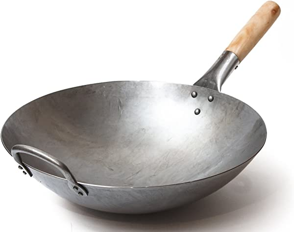 Craft Wok Traditional Hand Hammered Carbon Steel Pow Wok With Wooden And Steel Helper Handle 14 Inch Round Bottom 731W88