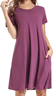 Women's Long Sleeve Pockets Winter Dress Casual Fall Midi Empire Waist Swing Dress