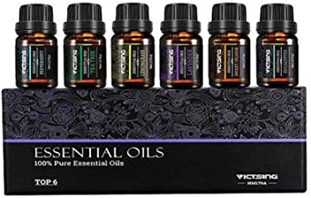 LONKOOM Aromatherapy Essential Oils 6 * 10ml 100% Pure Natural Relieve Anxiety Oils Set,Lavender,Lemongrass,Tea Tree,Peppe...
