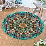 LJN_Home Alfombra Moderna Grande Mandala Azul Estampada Redonda Dormitorio Colgando Cama Cama Alfombra,60×60cm