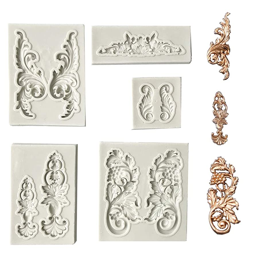 Juland 5 PCS Silicone Fondant Cake Mold Baroque Style Curlicues Scroll Mold for Sugarcraft, Cake Border Decoration, Cupcake Topper, Jewelry, Polymer Clay, Crafting Projects – Gray