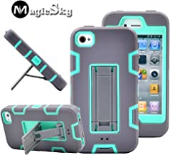 iPhone 4s case, iPhone 4 case, MagicSky Robot Series Hybrid Armor Defender Case Cover with Kickstand for Apple iPhone 4/4S - Blae