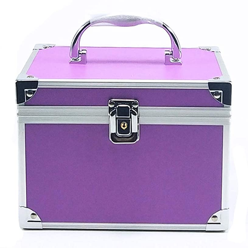 動作ポルティコ快適[テンカ]メイクボックス コスメボックス 紫 化粧箱 鏡付き 収納ボックス 収納ケース 化粧品?化粧道具入れ 自宅?出張?旅行?アウトドア撮影 プロ用 大容量 取っ手付 多機能