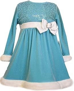 Little Girls Ice Blue Velour Sequin Dress