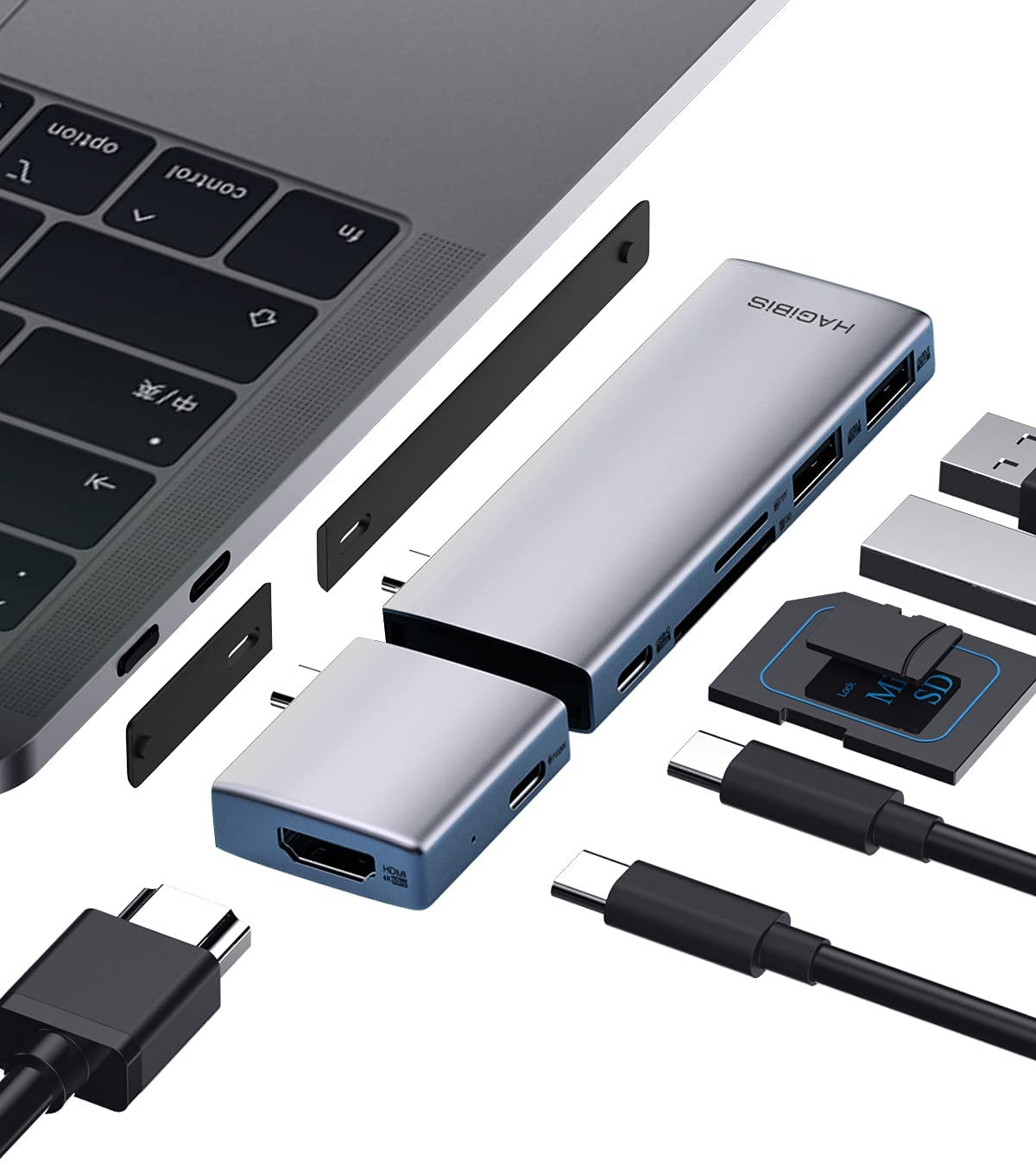 Hagibis USB C Hub Modular Magnetic USB Type-C Hub with 4K@60Hz HDMI, Separated Dual USB-C Adapter for MacBook Pro Air M1/2020/2019/2018 iPad Pro, SD/TF, USB 3.0, 100W Power Delivery (SD/Micro SD)