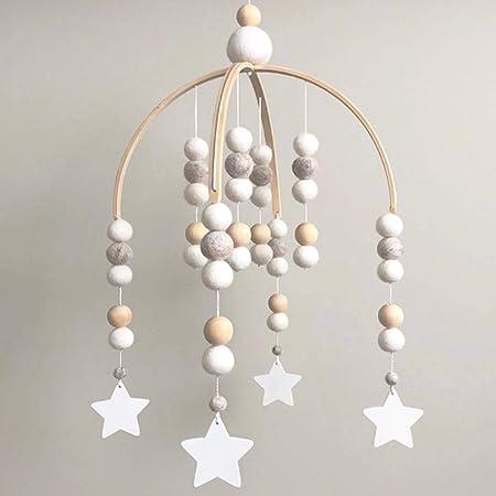 [Amieux] ベッドメリー メリー モビール ベビー 木製 北欧 (①White&Star)