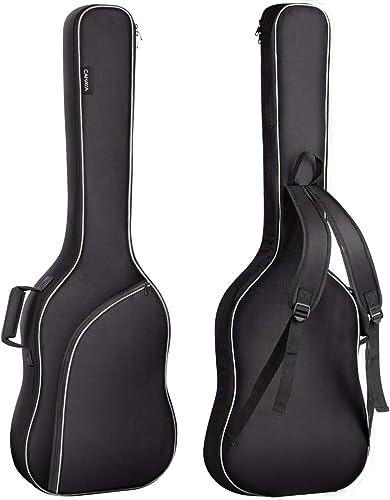 CAHAYA Housse pour guitare basse électrique Gigbag sac à dos étui souple rembourré, rembourrage gris de ca. 8 mm, Noir