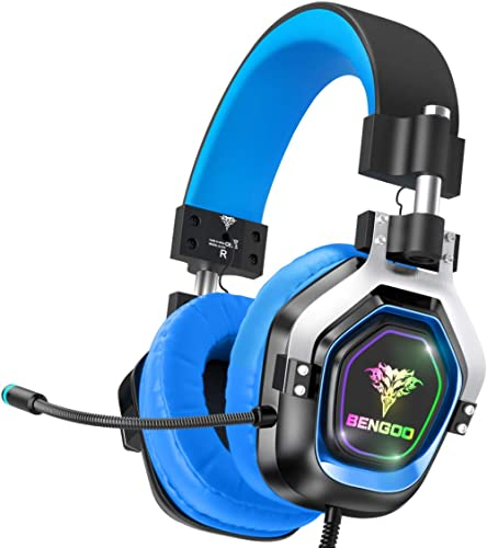 BENGOO G9100 Gaming Headset Headphones for PS4 Xbox One PC【4 Speaker Drivers】 Over Ear Headphones with RGB LED Lights...