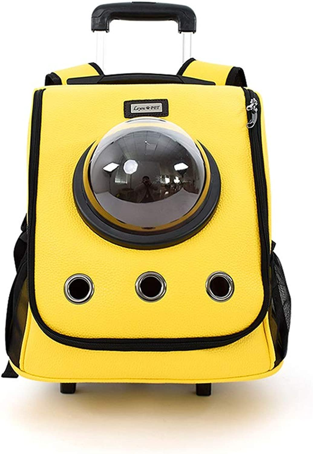 ETH Pet Bag Outdoor Shoulder Bag Backpack Lever Convenient Space Bag Folding Breathable Cat Bag Dog Bag (color   Yellow)