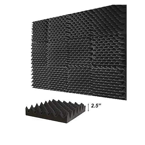 "(12 Pk) 3""x12""x12"" Blocks Size Soundproofing Foam Acoustic Eggcrate 2.5 inch Peak Tiles Studio Foam Sound Wedges"