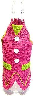 Cubierta rosa y verde de ganchillo para botellas de vino - Tamaño: 26 cm x 25 cm H - Handmade - ITALY