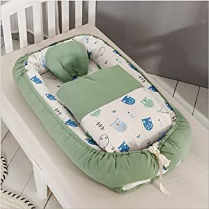 AP DISHU Baby Lounger  Portable Super Soft Cotton Breathable Newborn Infant Nest Bassinet  for Sleeping Baby Bassinet Crib E