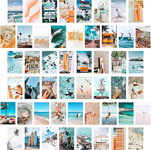 BeYumi 50PCS Blue Aesthetic Picture for Wall Collage, 50 Set 4x6 inch, Summer Beach Collage Print Kit, Fashion Room Decor for Girls, Room Wall Art Print, Dorm Photo Display, VSCO Posters for Bedroom
