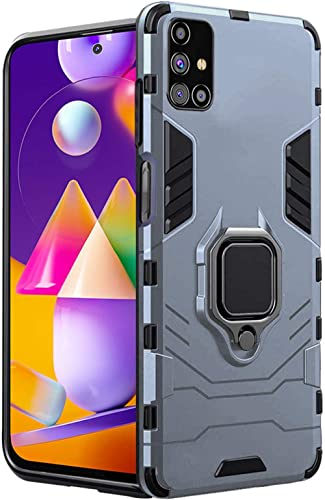 TheGiftKart Tough Armor Bumper Back Case Cover for Samsung Galaxy M31s | Ring Holder & Kickstand in-Built | Excellent...