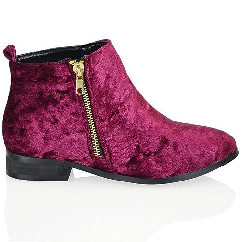 fb8ee0e7507 ESSEX GLAM Womens Velvet Chelsea Flat Heel Riding Biker Gold Zip Womens  Ankle Boots