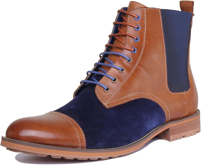 Justin Reece Nigel Men Suede Leather Brown Navy shoes