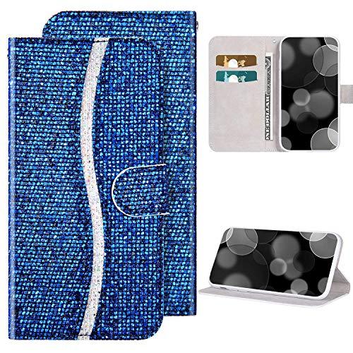 Kompatibel mit Samsung Galaxy Note 10 Plus hülle Bling Glitzer Glänzend Diamant Ledertasche Flip Case Brieftasche Handyhülle mit Kartensteckplatz Magnet PU Leder Klapphülle Schutzhülle,Blau