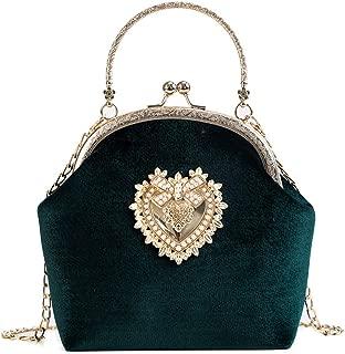 Womens Handbag Retro Evening Bag - Gorgeous Heart Design Bridal Wedding Party Velvet Purse